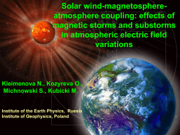 Solar wind-magnetosphere-atmosphere coupling