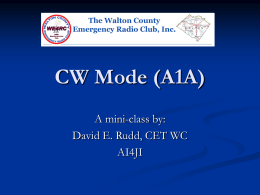 Intro to CW mode A1A