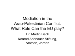 Mediation in the Arab-Palestinian Conflict - Konrad-Adenauer