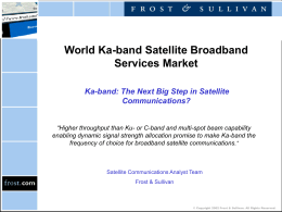 World Ka-band Satellite Broadband Services