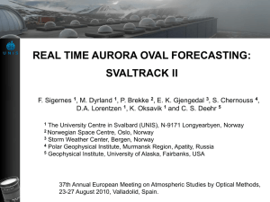 Real time aurora oval forecasting-SvalTrackII