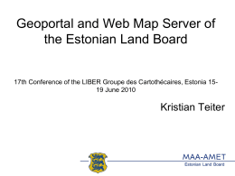 Geoportal and Web Map Server of the Estonian Land Board