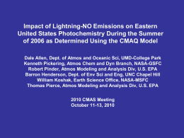 Methods for Incorporating Lightning NOx Emissions in CMAQ