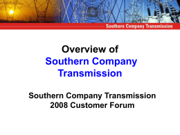 Overview of Southern Company Transmission