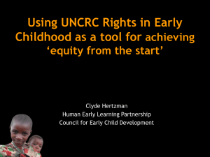 Using UNCRC Rights in Early Childhood as a tool for