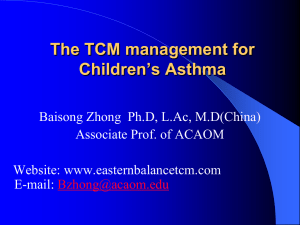 The TCM management for Children`s Asthma
