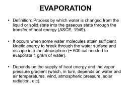 Evaporation - Civil & Environmental Engineering