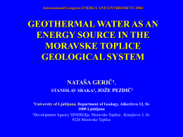 geothermal water as an energy source in the moravske toplice