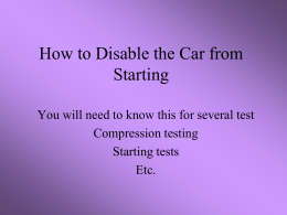 How to Disable the Car from Starting