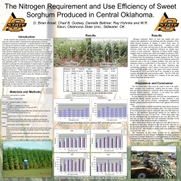The Nitrogen Requirement and Use Efficiency of Sweet