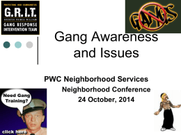 Gang Awareness and Issues, Part 1