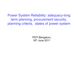 Power System Reliability: adequacy-long term planning