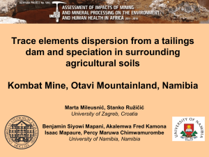 Trace elements dispersion from a tailings dam and speciation in