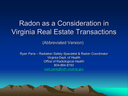View/Download the Radon in VA Real Estate