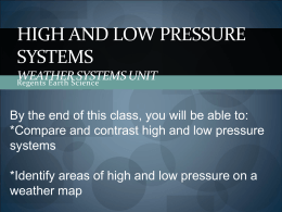 High Pressure, Low Pressure and Fronts