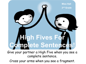 High Fives For Complete Sentences!