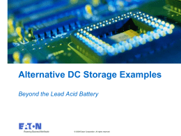 Alternative DC storage Examples
