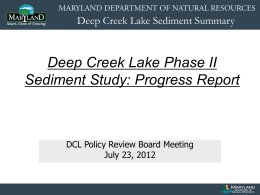 Deep Creek Lake Phase II Sediment Study: Progress Report