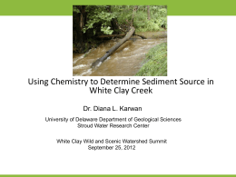 Sediment Sources, Diana Karwan - Wild & Scenic White Clay Creek