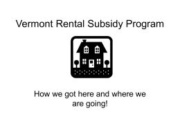 VT Rental Subsidy Program - Vermont Affordable Housing Coalition