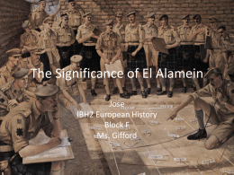 The Significance of El Alamein - European and Middle Eastern