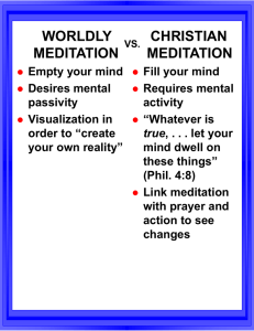 Worldly Meditation vs. Christian Meditation