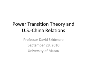 Power Transition Theory and U.S.-China Relations