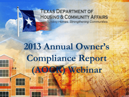 2013 Annual Owner`s Compliance Report Webinar
