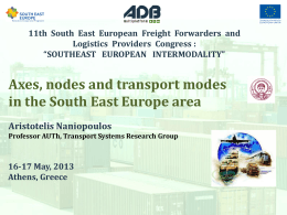 Axes, nodes and transport modes in the South East Europe area