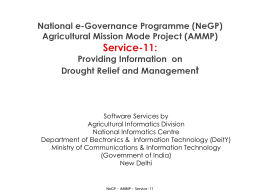 Integrated Agriculture Drought Management Information
