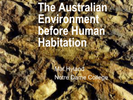 The Australian Environment before Human Habitation