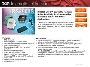IRS2500 µPFC™ Control IC Reduces Noise Sensitivity for Cost