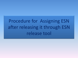 Assigning ESN final
