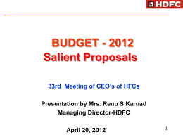 Key Announcements and Implications of Union Budget 2012-2013