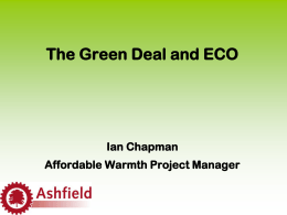 The Green Deal and ECO