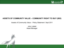 Assets of Community Value presentation