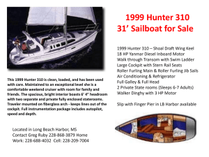 1999 Hunter 310 31` Sailboat for Sale