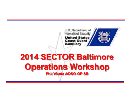 2014 Sector Baltimore Operations workshop