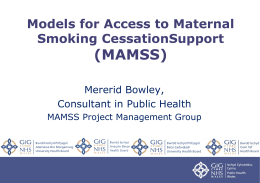 Models for Access to Maternal Smoking Cessation