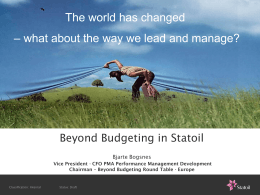 Ambition to action & Beyond Budgeting Bjarte Bogsnes