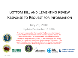 Bottom Kill and Cementing Review Response to Request for