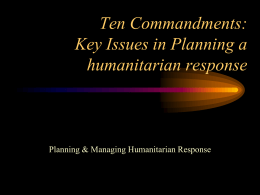 Key issues in planning a humanitarian response