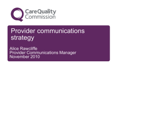 Provider communications strategy