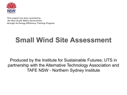 Small Wind Site Assessment - Office of Environment and Heritage