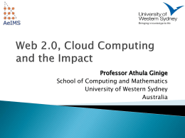Web 2.0, Cloud Computing and the Impact