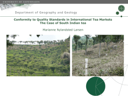 Conformity to Quality Standards in International Tea Markets