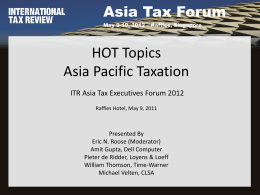 Hot Topics in Asia Pacific Taxation in 2012
