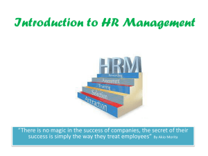 Introduction to HR management