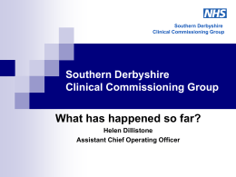 Southern Derbyshire Clinical Commissioning Group The Board