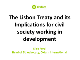 The Lisbon Treaty and its Implications for civil society